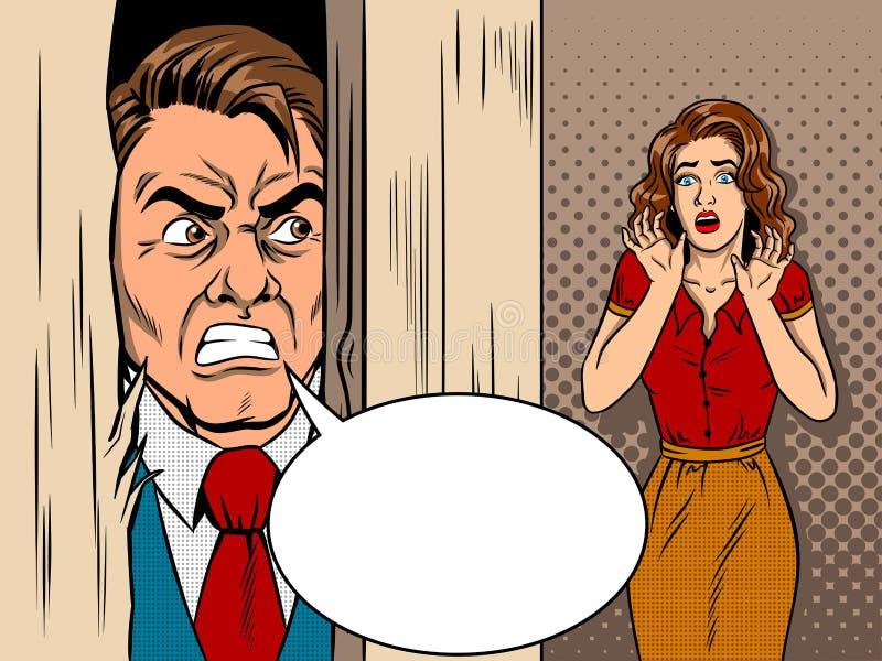 Vendedor que rompe vector del estilo del cómic de la puerta stock de ilustración