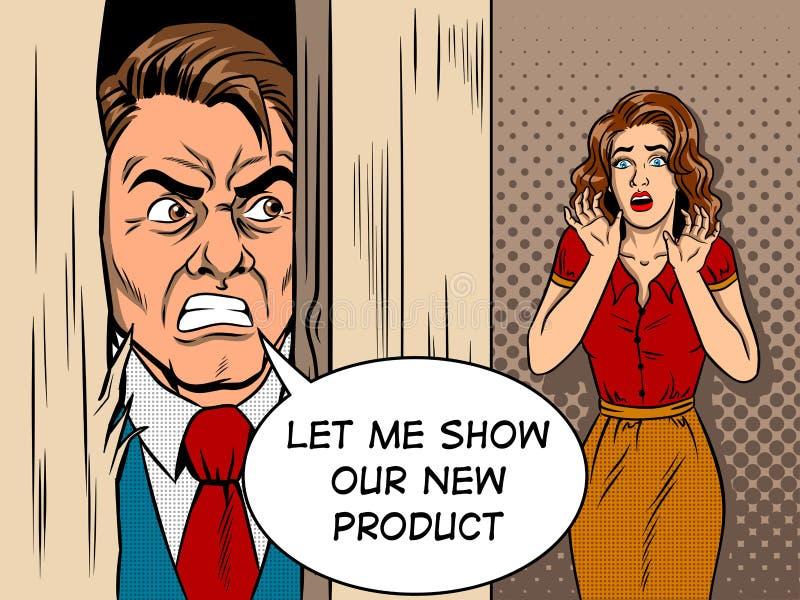 Vendedor que rompe vector del estilo del cómic de la puerta libre illustration