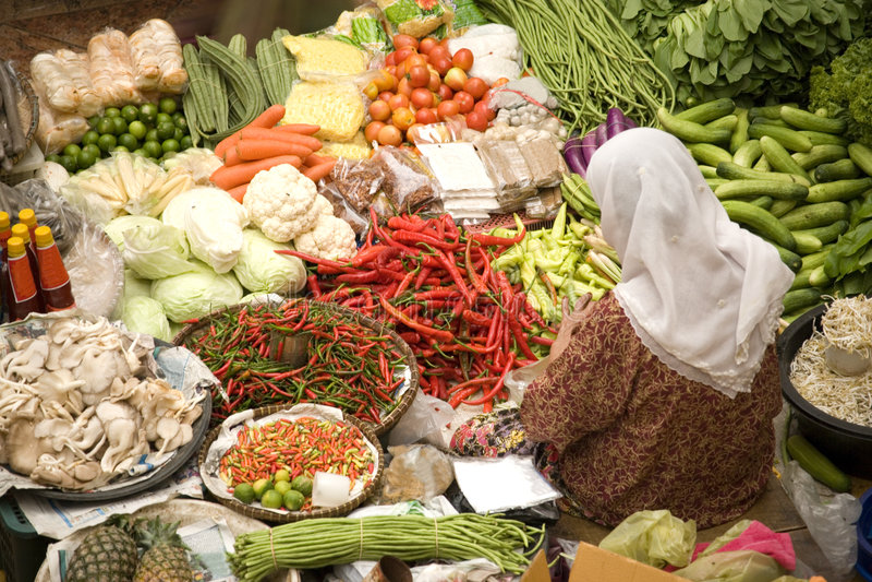 Vendedor vegetal foto de stock royalty free