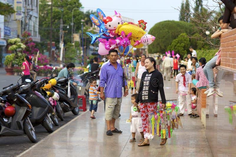 Vendedor vietnamiano do balão da rua fotografia de stock