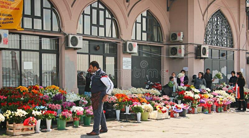Vendedores da flor em Istambul foto de stock