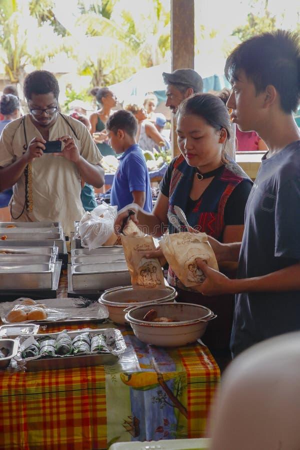Vendedores de comida da rua Hmong, Cacao imagens de stock