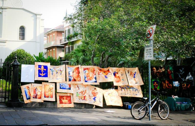 Vendedores del arte de la calle de New Orleans imagen de archivo libre de regalías