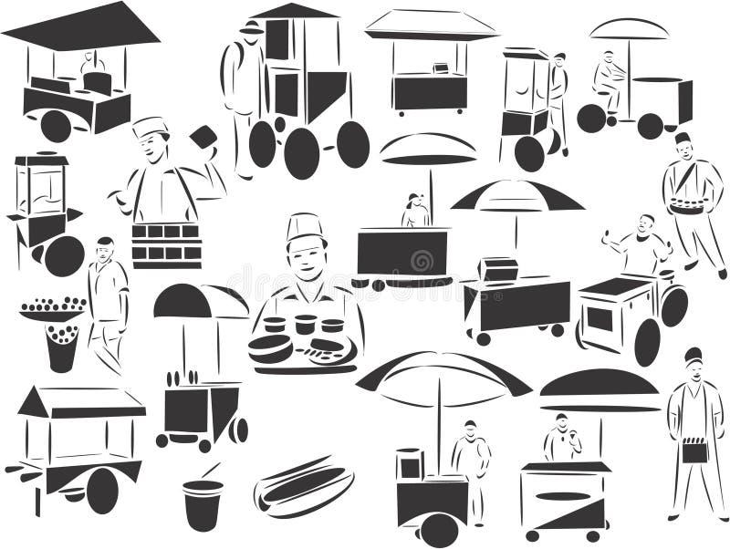 Vendedores do alimento da rua ilustração stock