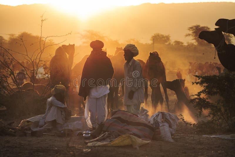 Vendedores do camelo da cidade de Pushkar, Pushkar Mela fotografia de stock royalty free