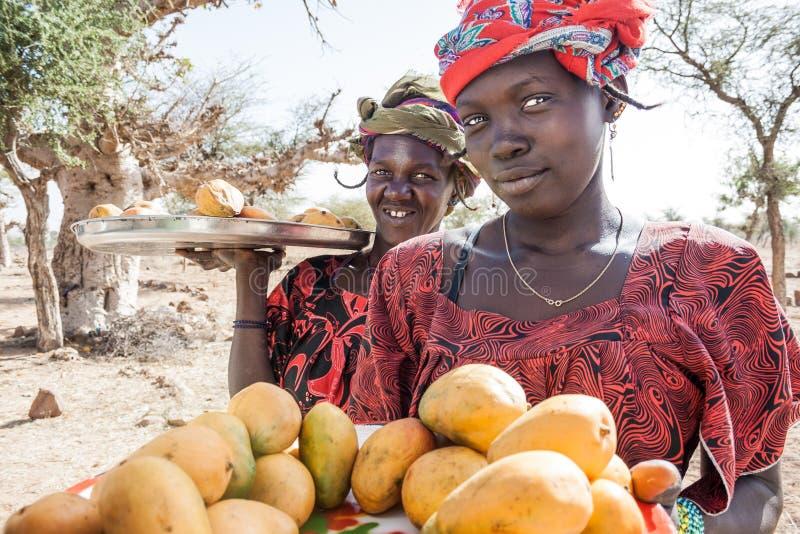 Vendedores a lo largo de la manera, Malí, África. imagen de archivo