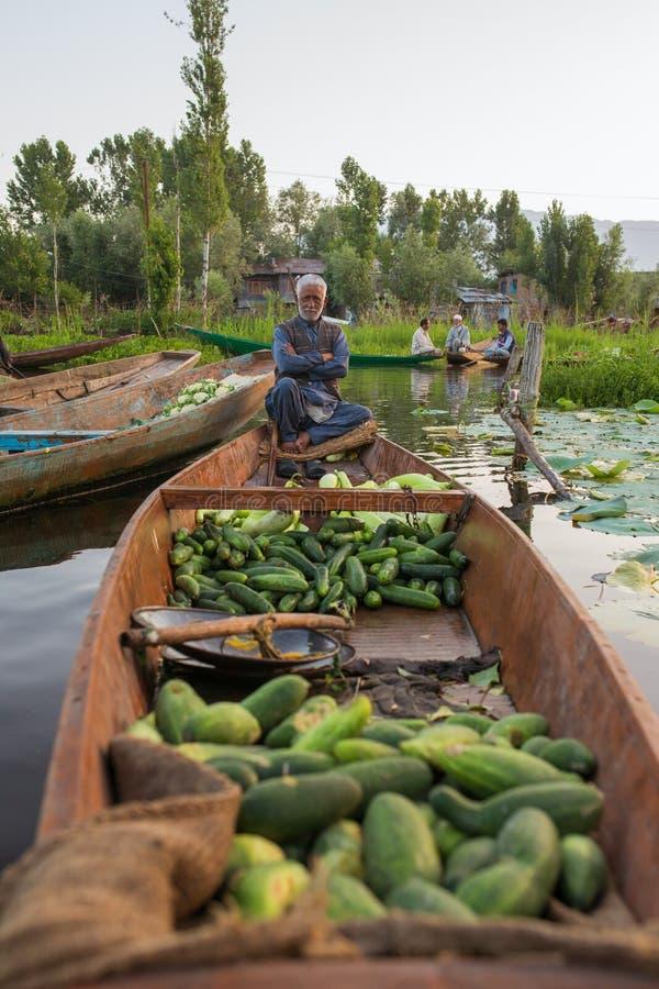Vendedores vegetais não identificados que tomam seu produto ao mercado de flutuação cedo na manhã em Dal Lake em Srinagar foto de stock