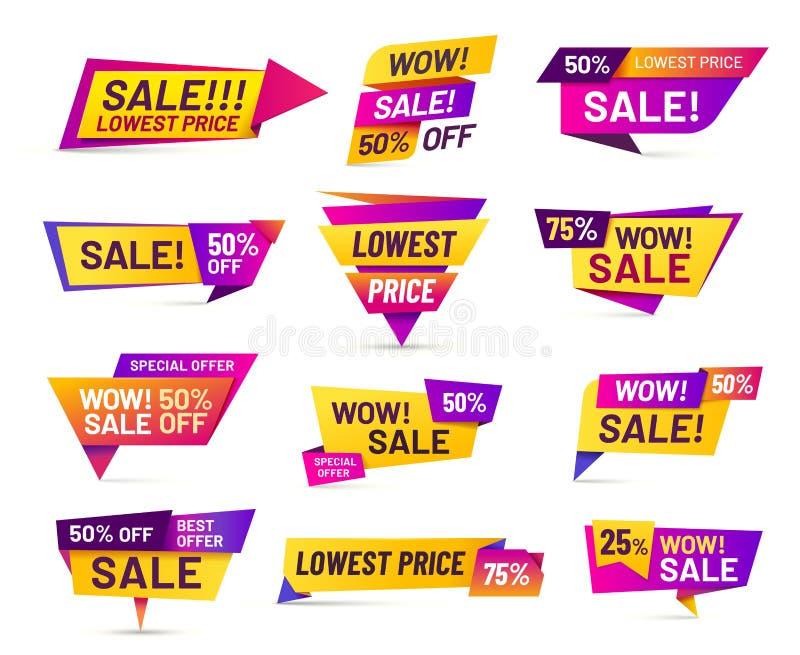 Vendendo emblemas Etiqueta da etiqueta de preço com desconto, oferta de anúncio vívida e grupo isolado crachá do vetor das vendas ilustração do vetor