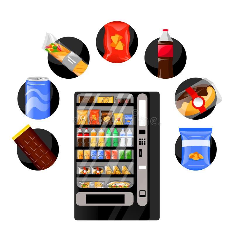 Vendendo petiscos ícones automáticos da máquina e do fast food Ilustra??o lisa dos desenhos animados do vetor Refeição e bebidas  ilustração stock