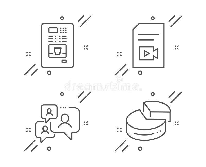 Vender do arquivo de vídeo, do café e de bate-papo do apoio grupo dos ícones Sinal da carta de torta Vetor ilustração stock