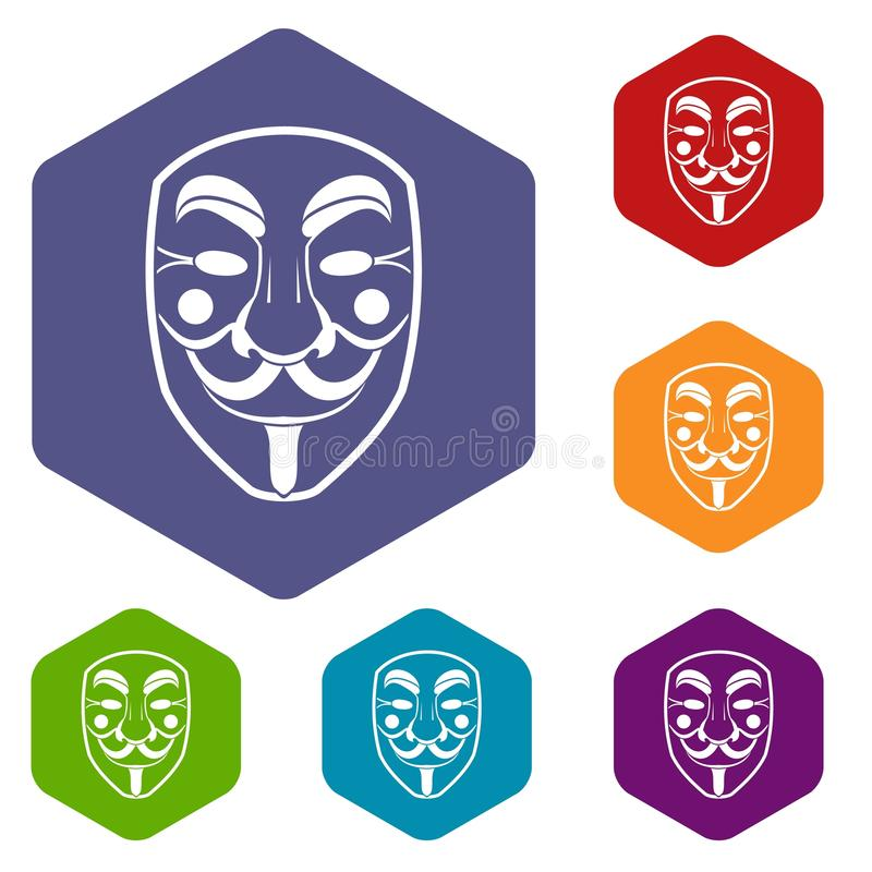 Vendetta mask icons set hexagon vector illustration