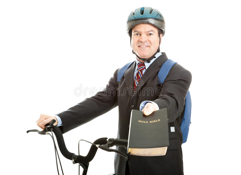 Vendeur de bible de bicyclette photographie stock libre de droits