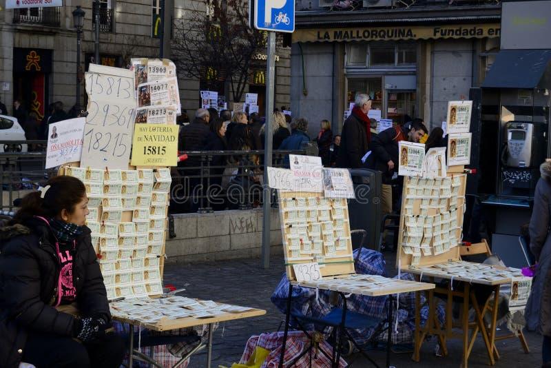 Vendeur de billets de loterie de Noël, Madrid, Espagne photographie stock
