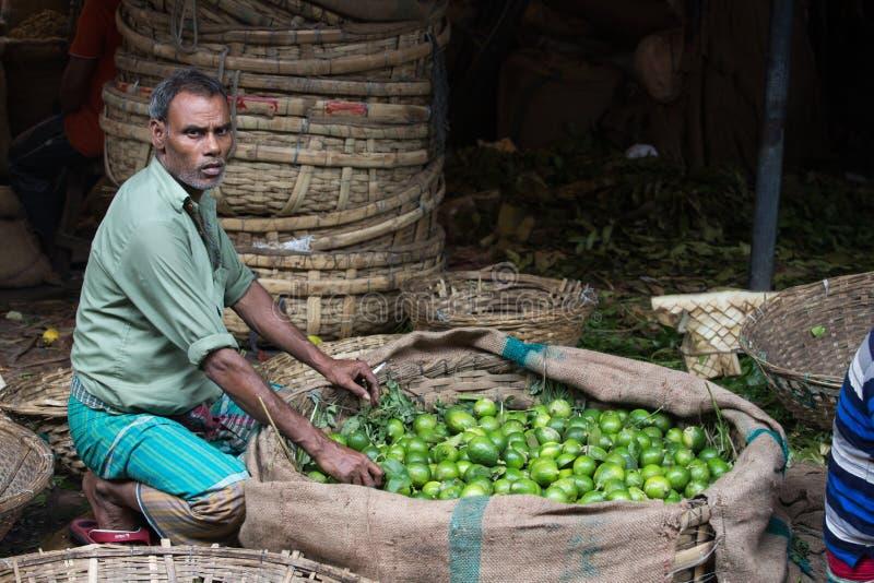 Vendeur de citron au marché, Bangladesh, bazar karwan photo stock