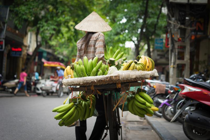 Vendeur de fruit de Hanoï avec l'effet de vignette supplémentaire image stock