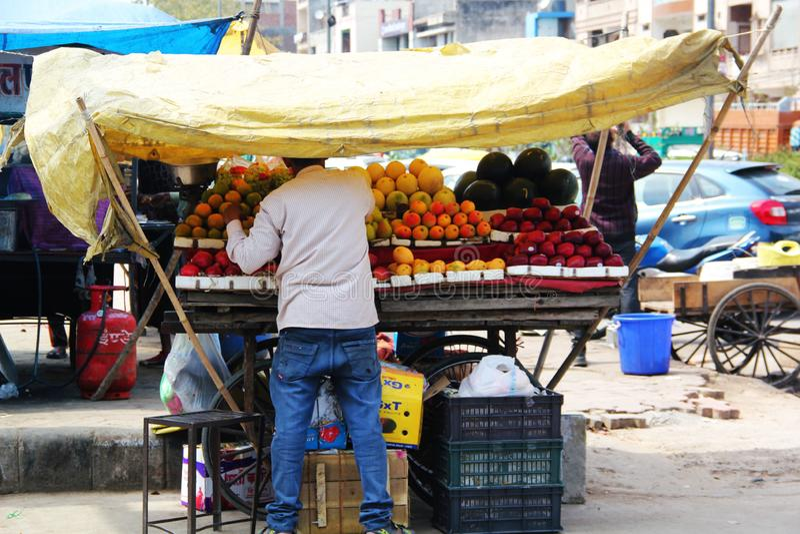 Vendeur de fruit de rue avec de divers fruits à Delhi image libre de droits