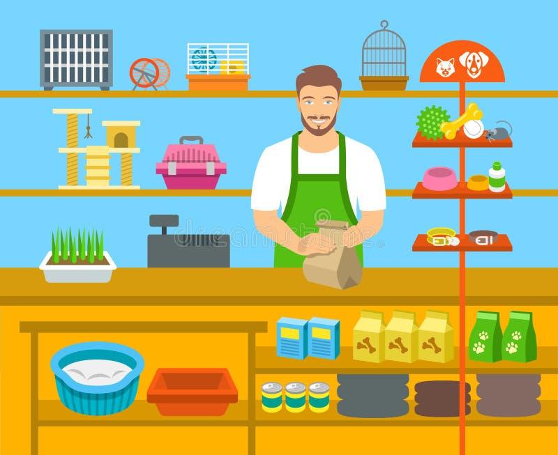 Vendeur de magasin de bêtes au compteur dans l'illustration plate de magasin illustration libre de droits