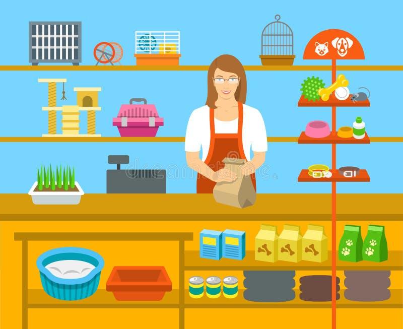 Vendeur de magasin de bêtes au compteur dans l'illustration plate de magasin illustration de vecteur