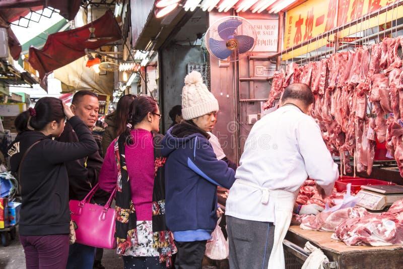 Vendeur de viande en Hong Kong image libre de droits