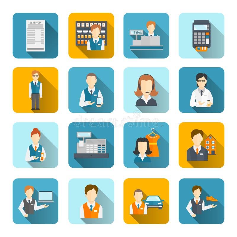 Vendeur Icons Set Flat illustration de vecteur