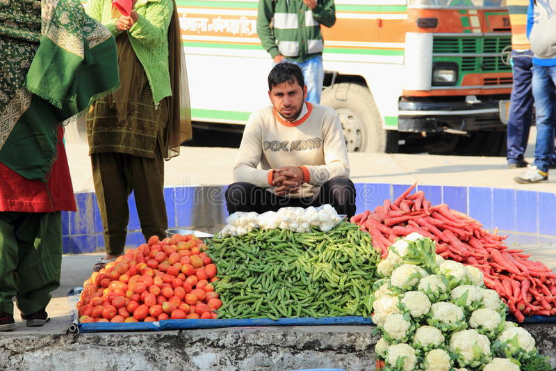 Vendeur végétal. images stock
