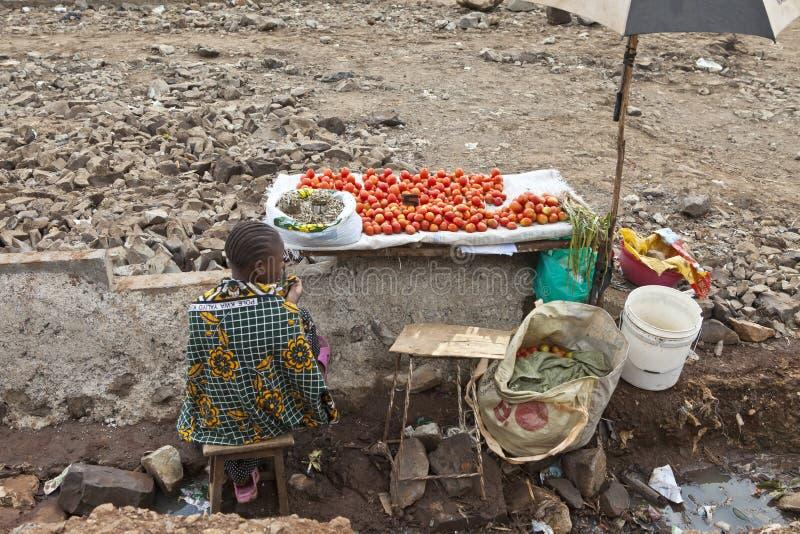 Vendeur végétal, Kibera Kenya photographie stock libre de droits