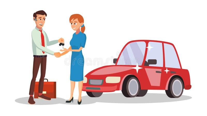 Vendeur Vector de concessionnaire automobile Choix du nouveau concept de machine Homme de vendeur Illustration de caractère d'aff illustration stock
