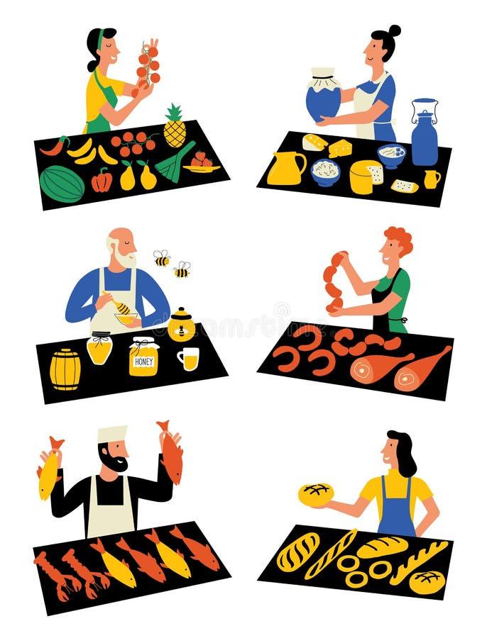 Vendeurs sur le marché, personnages de dessin animé March? ext?rieur saisonnier, festival de nourriture de rue Illustration plate illustration de vecteur