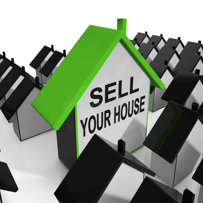 Vendez vos moyens de maison de Chambre lançant la propriété sur le marché illustration libre de droits