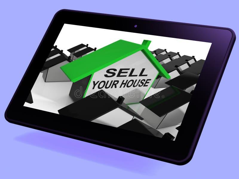 Vendez vos moyens de Tablette de maison de Chambre lançant la propriété sur le marché illustration libre de droits