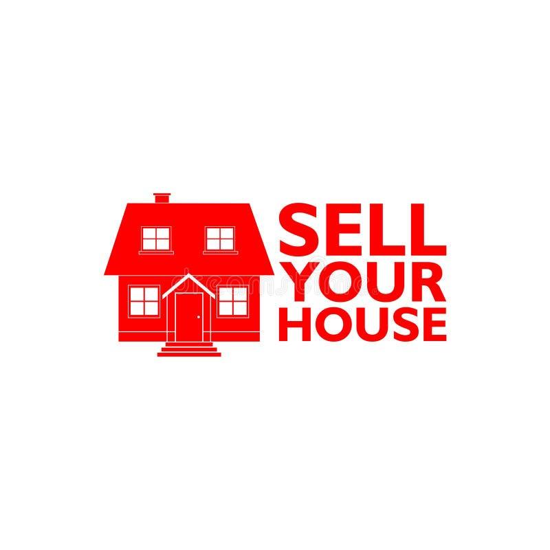 Vendez votre icône à la maison de Chambre, signe, logo illustration stock