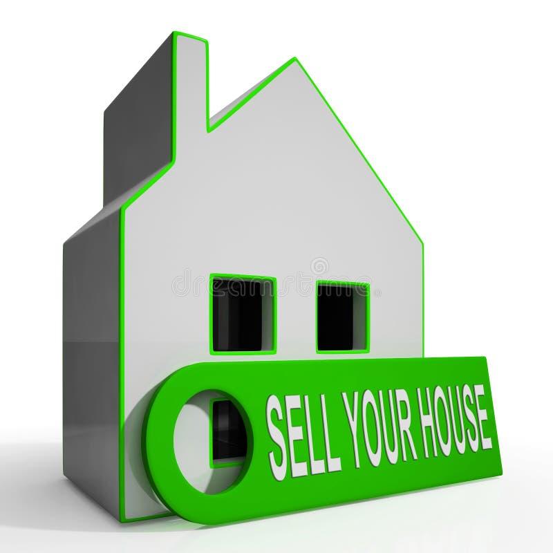 Vendez votre propriété q disponible de moyens de maison de Chambre illustration stock