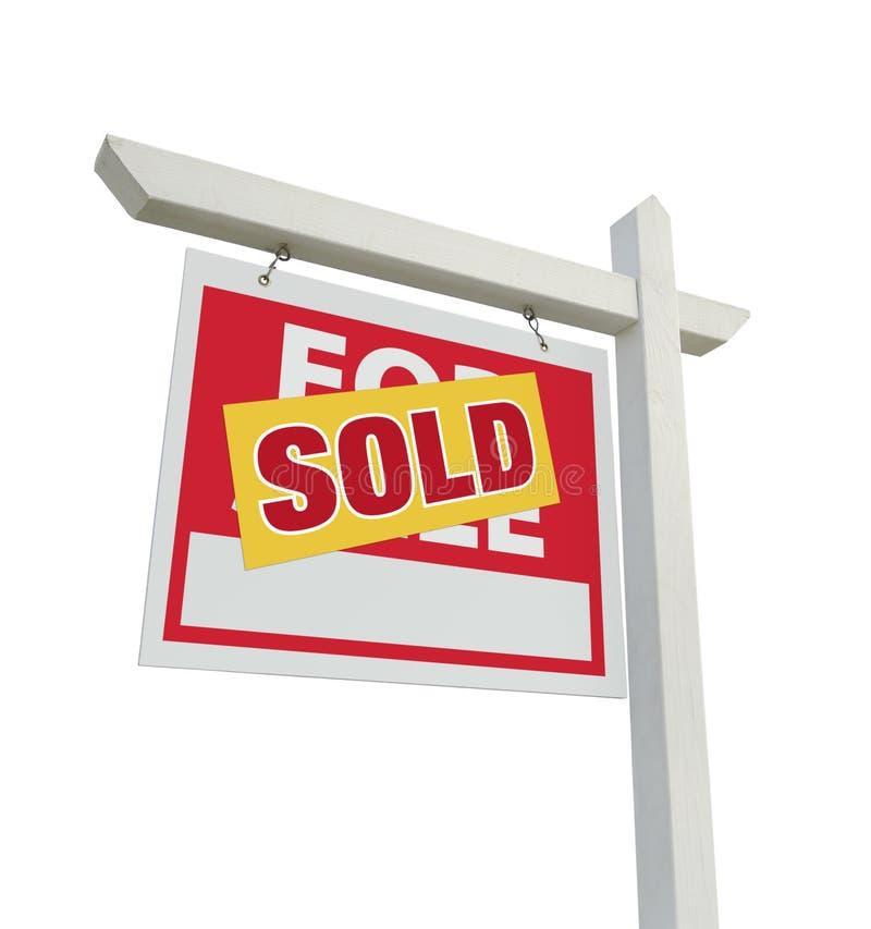 Vendido a casa para la muestra de las propiedades inmobiliarias de la venta en blanco fotografía de archivo