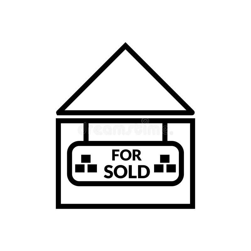 Vendido con vector del icono de la casa ilustración del vector