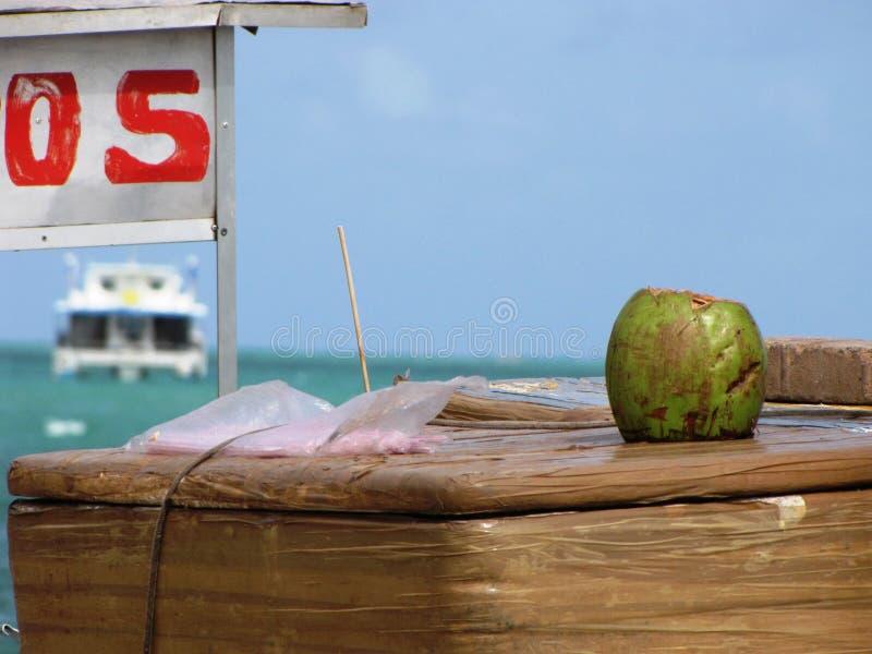 Vendiendo los cocos en una playa brasileña, con una travesía lujosa en el fondo imágenes de archivo libres de regalías