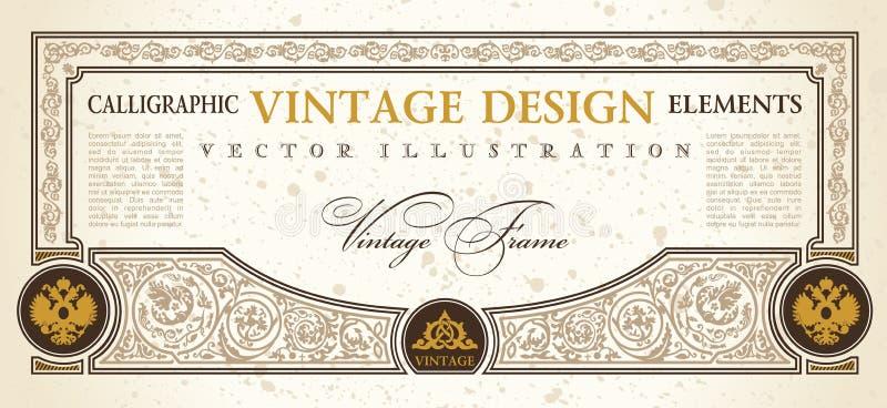 Vendimia del diseño del modelo de la cupón del certificado del vector stock de ilustración