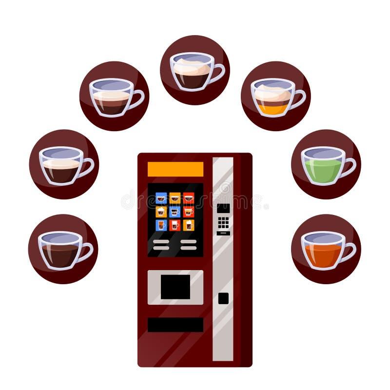 Vending automatyczne maszyny, herbaty i kawy napojów ikony, Wektorowa p?aska kresk?wki ilustracja Gorący napoje sprzedaje usługi royalty ilustracja