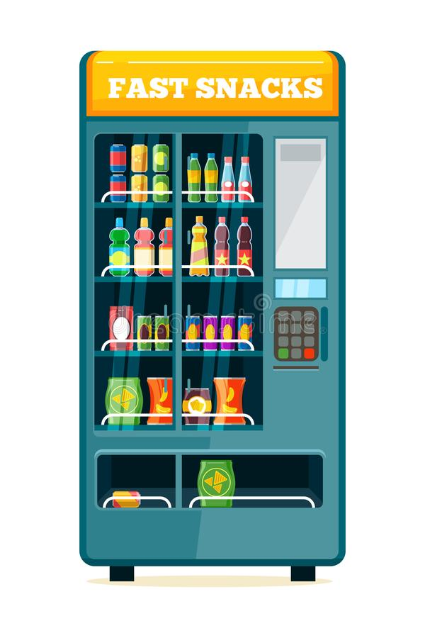 Vending food drink machine. Chips soda snack biscuits sandwich automatic product drink display acceptor assortiment vector illustration
