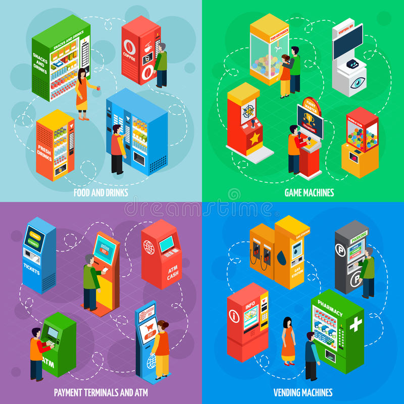 Vending Games Machines Isometric Icons Square. Food and drinks vending machines with payment terminals automated self service 4 isometric icons square vector vector illustration