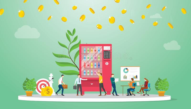Vending machine business growth finance concept with modern flat style - vector vector illustratie