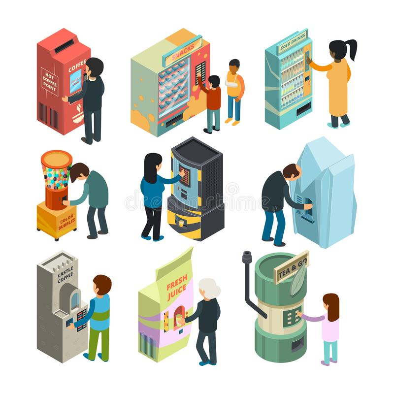 Vending machine isometric. Snack sandwich ice cream coffee water automatic shop people buying fast food and drinks. Vector 3d pictures. Illustration of vending vector illustration