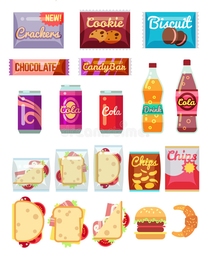 Vending machine products packaging flat icons. Vending machine products packaging. Fast food, snacks and drinks vector icons in flat style royalty free illustration