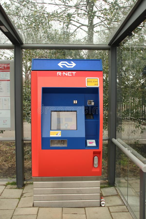 Vending machine for tickets at trainstation Waddinxveen Noord of RNET train stock image