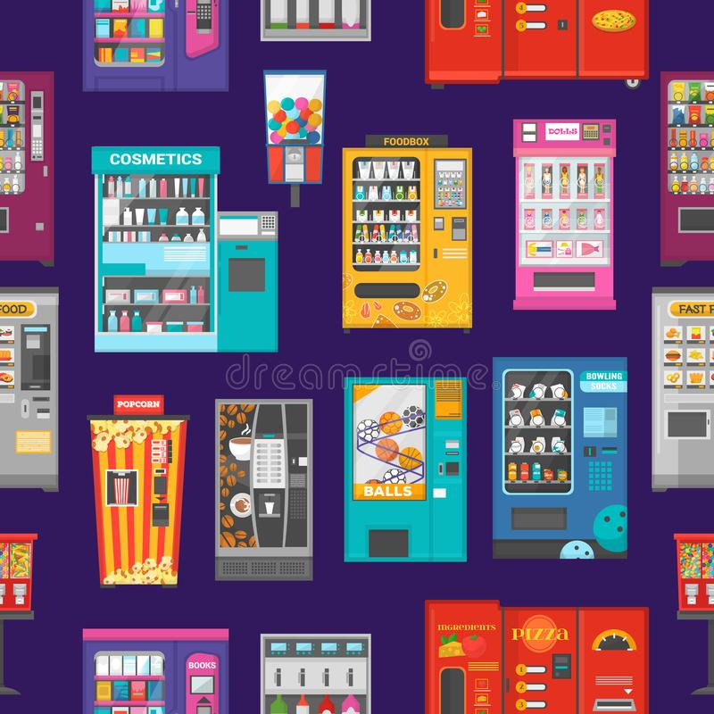 Vending machine vector vend food or beverages and vendor machinery technology to buy snack or drinks illustration set. Seamless pattern background stock illustration