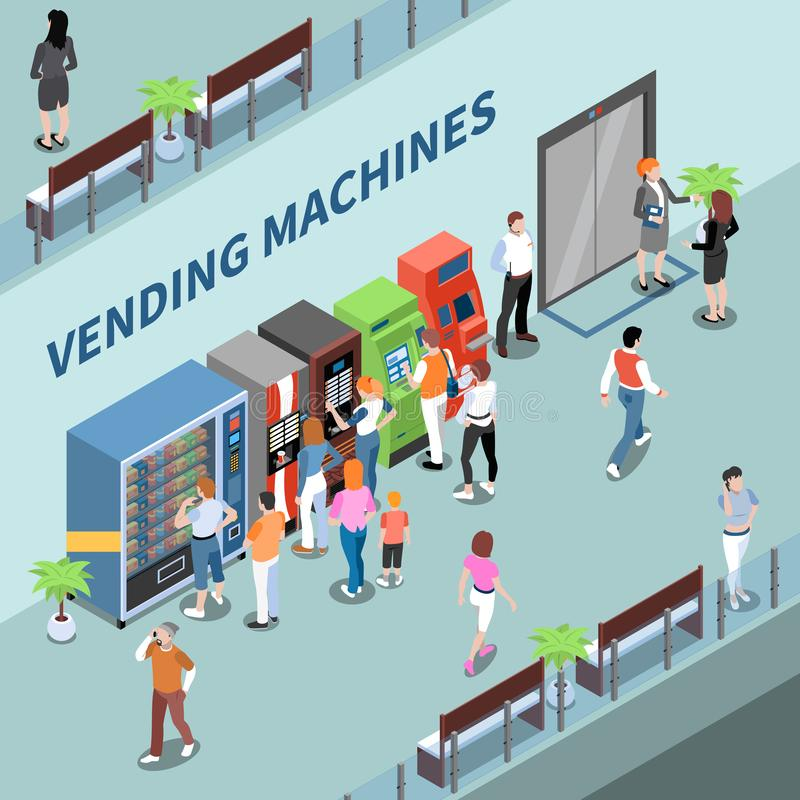 Vending Machines Consumers Isometric Composition stock illustration