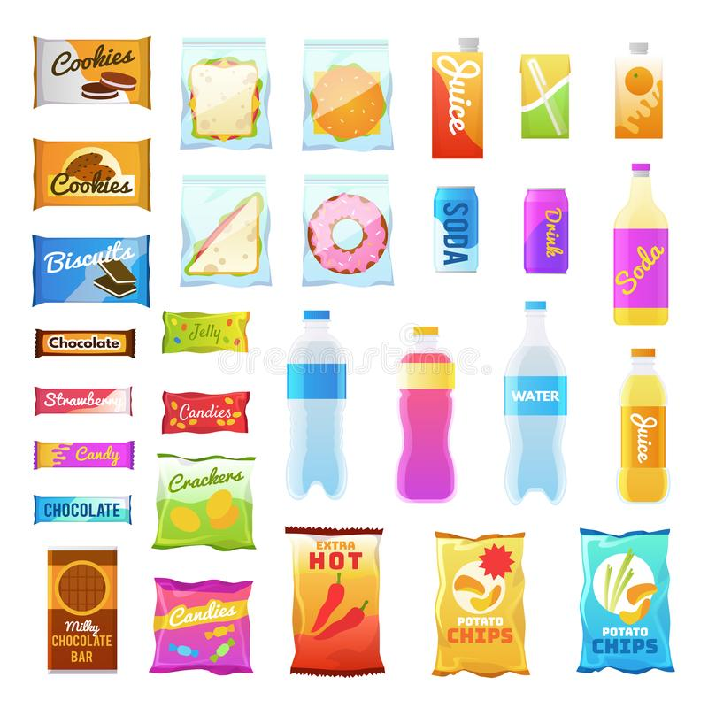 Vending products. Beverages and snack plastic package, fast food snack packs, biscuit sandwich. Drinks water juice flat stock illustration