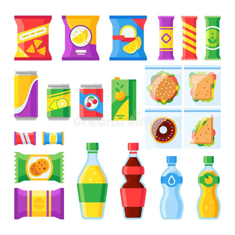 Vending products. Snacks, chips, sandwich and drinks for vendor machine bar. Cold beverages and snack in plastic package. Merchandising flat vector isolated stock illustration