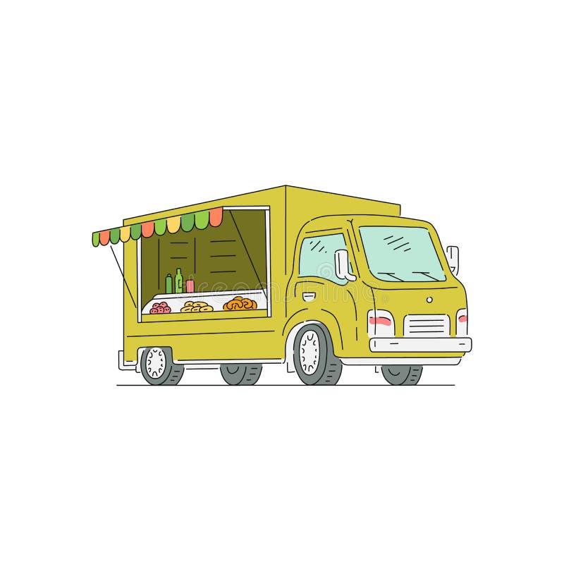 Vending trade truck for street food sketch vector illustration cartoon isolated. vector illustration