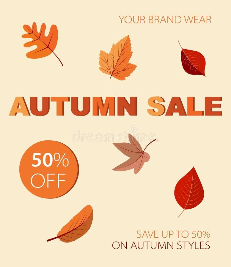 Vendita autunnale con le foglie colorate immagini stock