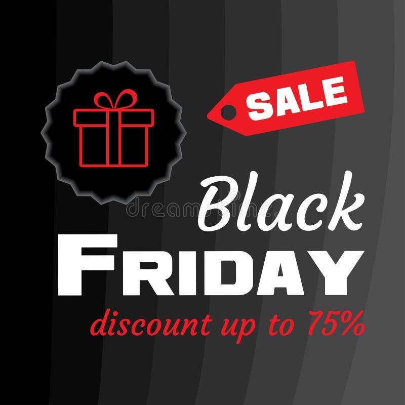 Vendita bianca di BLACK FRIDAY dell'iscrizione con il contenitore di regalo rosso su fondo nero Insegna di Black Friday del model illustrazione di stock